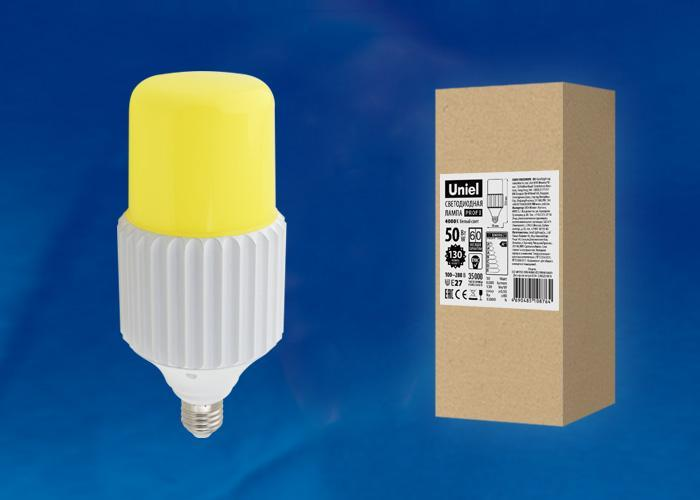 Лампа светодиодная сверхмощная (UL-00004064) Uniel E27 50W 4000K желтая LED-MP200-50W/4000K/E27/PH ALP06WH