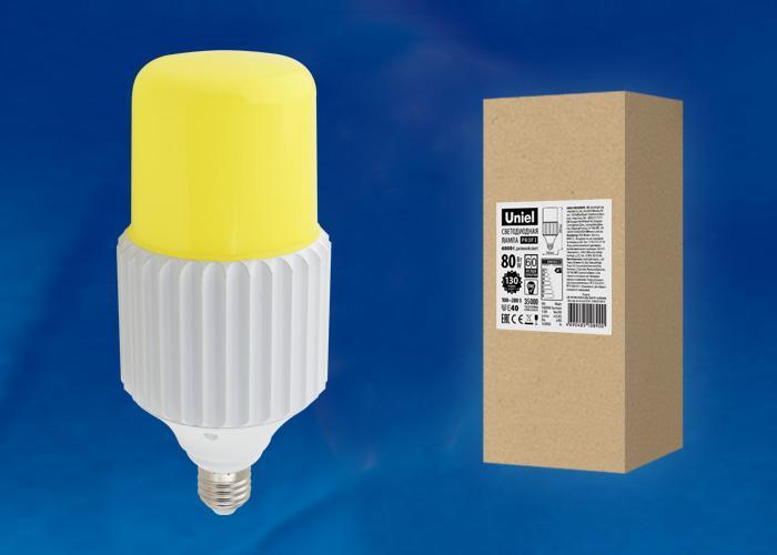 Лампа светодиодная сверхмощная (UL-00004079) Uniel E27 80W 6000K желтая LED-MP200-80W/6000K/E40/PH ALP06WH