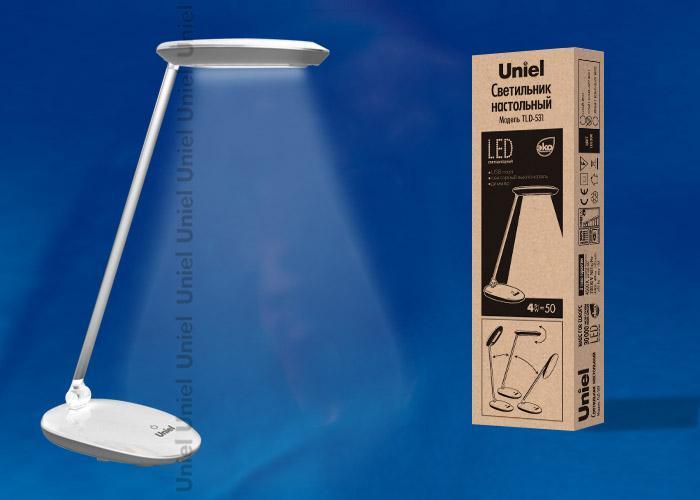 Настольная лампа (UL-00000807) Uniel TLD-531 Grey-White/LED/400Lm/4500K/Dimmer