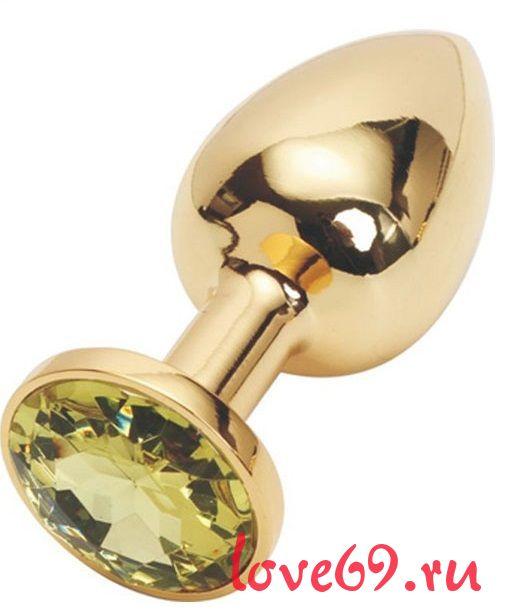 Золотистая анальная пробка с желтым кристаллом - 7,6 см.