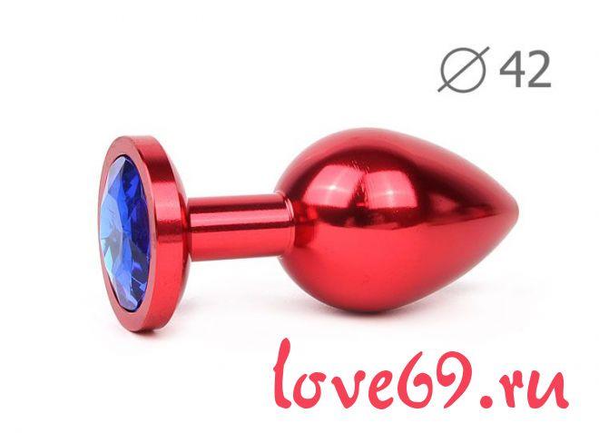 Коническая красная анальная втулка с синим кристаллом - 9,3 см.