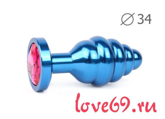 Коническая ребристая синяя анальная втулка с малиновым кристаллом - 8 см.