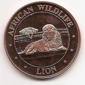 Лев. Дикая природа Африки.США Монетовидный жетон