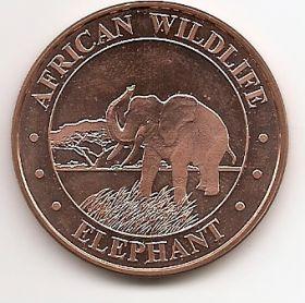 Африканский слон.Дикая природа Африки.США Монетовидный жетон