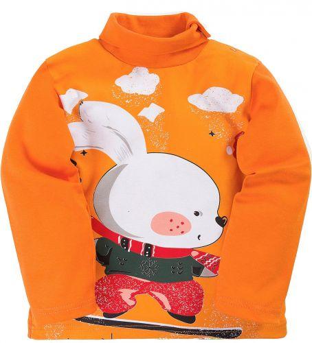 Водолазка для мальчиков 1-4 лет Bonito оранжевый с зайчонком