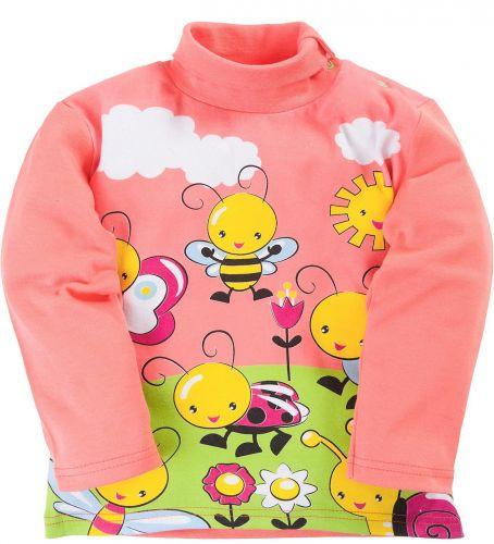 Водолазка для девочек 1-4 лет Bonito персиковая с пчёлками