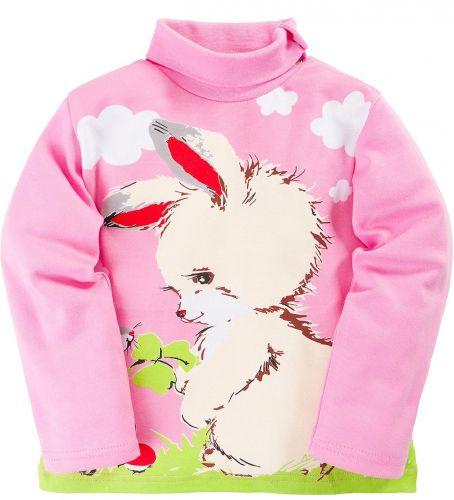 Водолазка для девочек 1-4 лет Bonito розовая с зайчиком