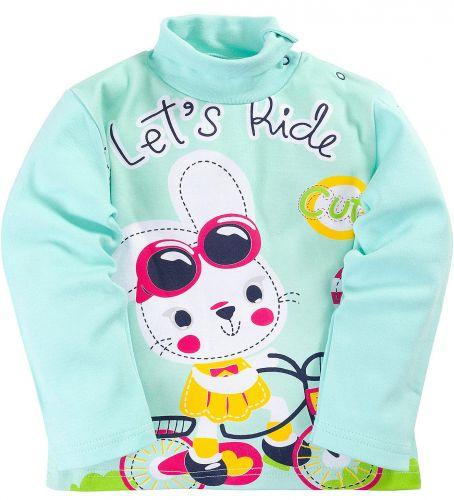 Водолазка для девочек 1-4 лет Bonito ментоловая с зайчиком