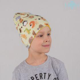 HOH  ШВ19-05561290 Двухслойная удлиненная трикотажная шапка с принтом сафари