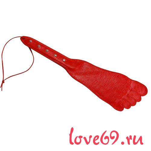 Красная хлопалка в форме ступни - 34,5 см.