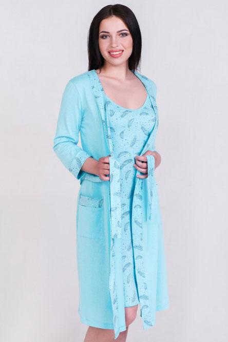Комплект (халат и сорочка) арт.0614-16, кулирка