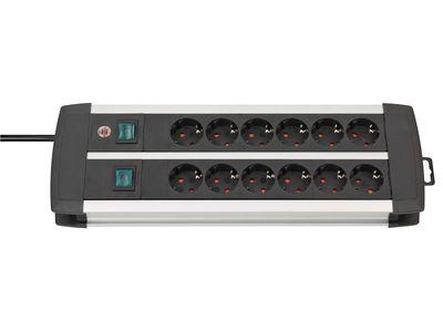 Удлинитель Brennenstuhl Premium-Duo-ALU-Line сдвоенный 12 розеток, 3 метра, кабель H05VV-F 3G1,5 (1391000912)