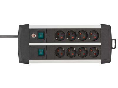 Удлинитель Brennenstuhl Premium-Duo-ALU-Line сдвоенный 8 розеток, 3 метра, кабель H05VV-F 3G1,5 (1391000908)