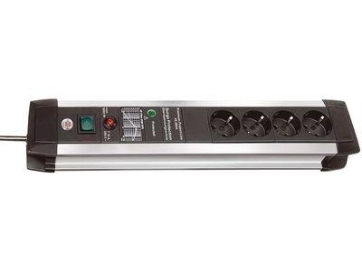 Сетевой фильтр Brennenstuhl Premium-Protect-Line 60 000 А, 4 розетки, 3 метра; серебристый/черный, кабель H05VV-F 3G1,5 (1391000604)