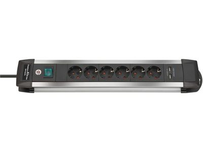 Удлинитель Brennenstuhl Premium-Alu-Line, 6 розеток и 2 порта USB, 3 метра; серебристый/черный, кабель H05VV-F 3G1,5 (1391000516)