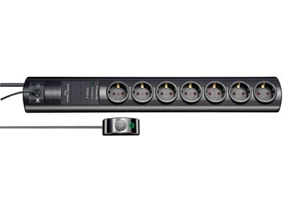 Сетевой фильтр Brennenstuhl Primera-Tec Comfort Switch Plus 19500 А, 7 розеток, 2 постоянные розетки + 5 отключаемых, 2 метра, черный, кабель H05VV-F 3G1,5 (1153300467)