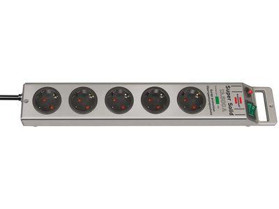 Сетевой фильтр Brennenstuhl Super-Solid 13500 А, 5 розеток, 2,5 метра, серебристый, кабель H05VV-F 3G1,5 (1153340315)
