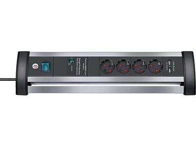 Сетевой фильтр Brennenstuhl Alu-Office-Line 60 000 А; 4 розетки и 2 порта USB, 1,8 метра; серебристый/черный, кабель H05VV-F 3G1,5 (1395000514)
