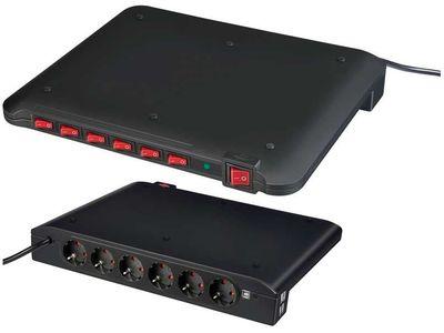 Сетевой фильтр Brennenstuhl Power Manager PMA USB, 19500 A, 6 розеток; 4 USB порта, 2 метра, кабель H05VV-F 3G1,5 (1150050)