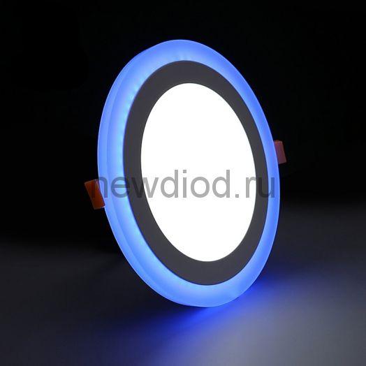 Светильник встраиваемый Sirius 12W+4W-840Lm 155/195mm синий КРУГ Oreol