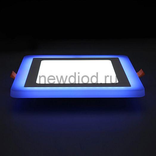 Светильник встраиваемый Sirius 3W+3W-210Lm 75/105mm синий КВАДРАТ Oreol