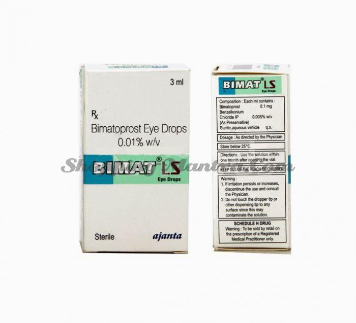 Бимат ЛС капли для роста ресниц (биматопрост 0.01%) Аджанта Фарма | Ajanta Pharma Bimat LS Eye Drops (Bimatoprost 0.01%)