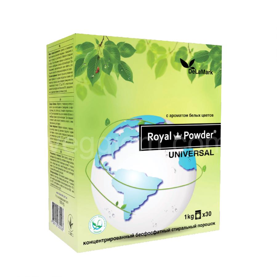 Концентрированный безфосфатный стиральный порошок DeLaMark Royal Powder, аромат белых цветов 1 кг