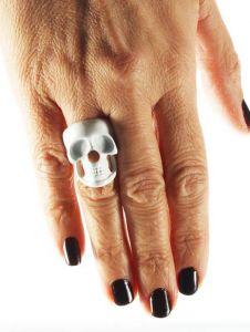 Кольцо с черепом металлическое