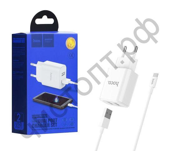 СЗУ HOCO C62A, Victoria, 2100mA, пластик, с 2 USB выходами кабель Type-C, цвет: белый