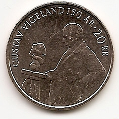 150 лет cо дня рождения норвежского скульптора Густава Вигеланда 20 крон Норвегия 2019 на заказ