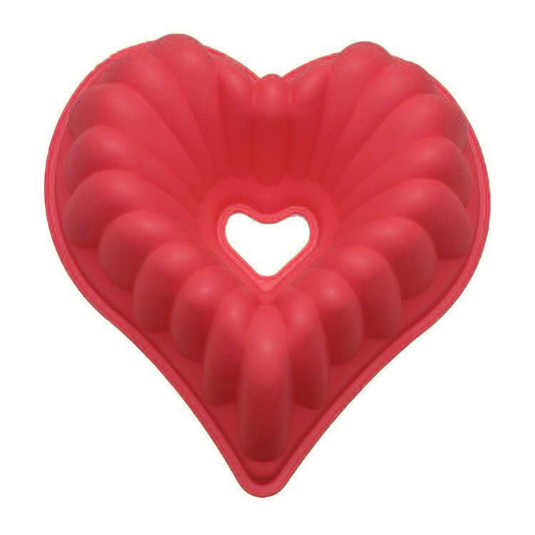 Силиконовая Форма Для Выпечки Кексов Сердце, Цвет Красный