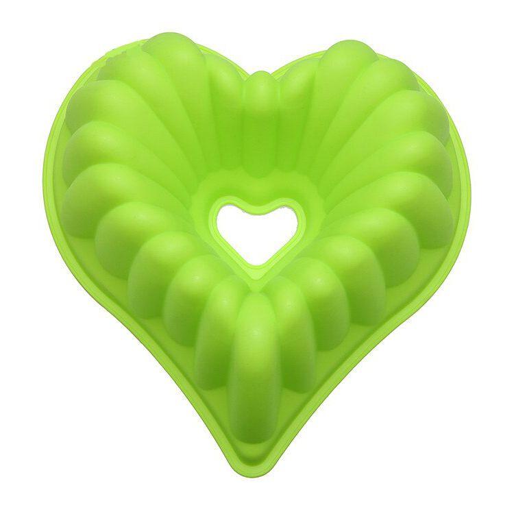 Силиконовая Форма Для Выпечки Кексов Сердце, Цвет Салатовый