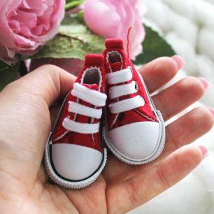 Обувь для кукол Кеды 5 см на шнурках (красные)