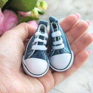 Обувь для кукол Кеды 5 см на шнурках (джинс, деним)