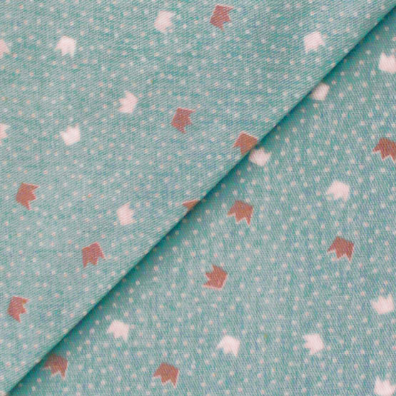 Ткань Хлопок Короны на мятном 50x40