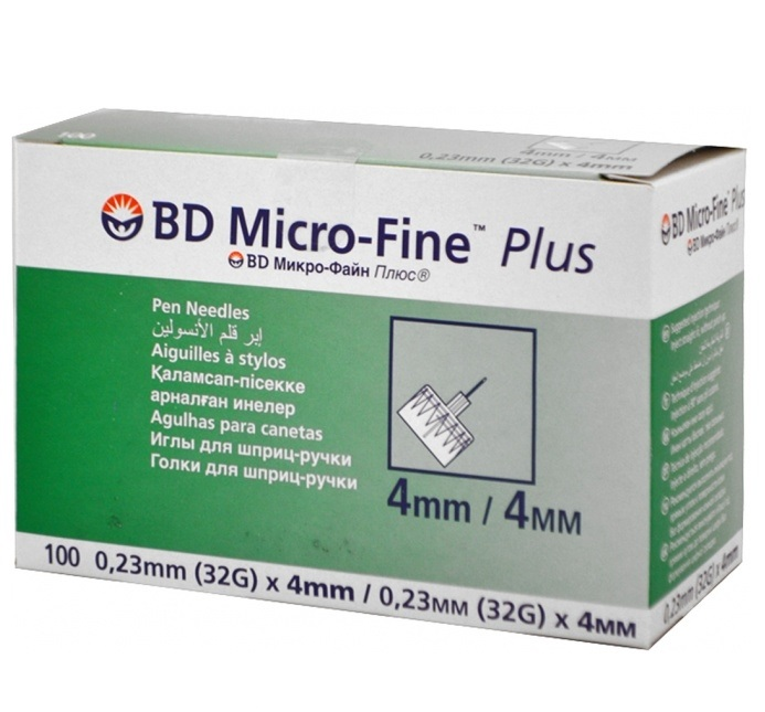 Иглы Микрофайн BD 4мм (32G, 0.23 мм) № 100