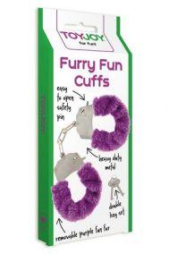 Наручники металлические Toy Joy Furry Fun Cuffs с мехом фиолетовые