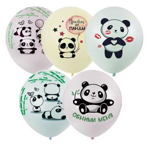 Панды макарунс шары латексные с гелием
