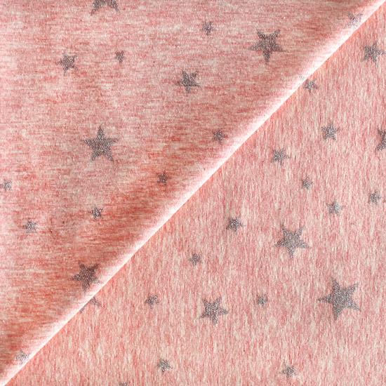 Лоскут трикотажной ткани Звезды на розовом