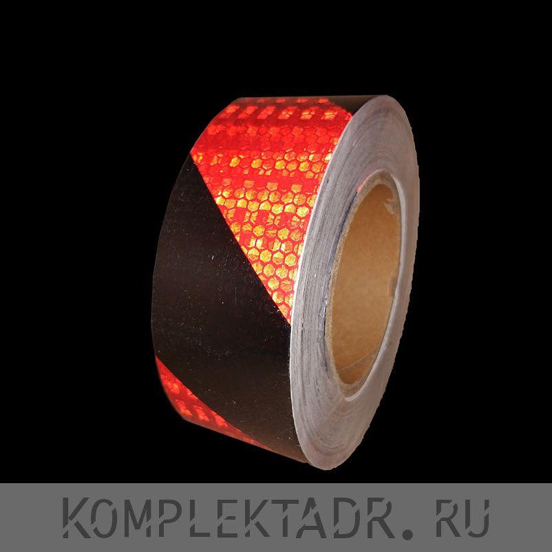 Светоотражающая лента 0,05х25 м красно-черная диагональная (Арт.: 22163)
