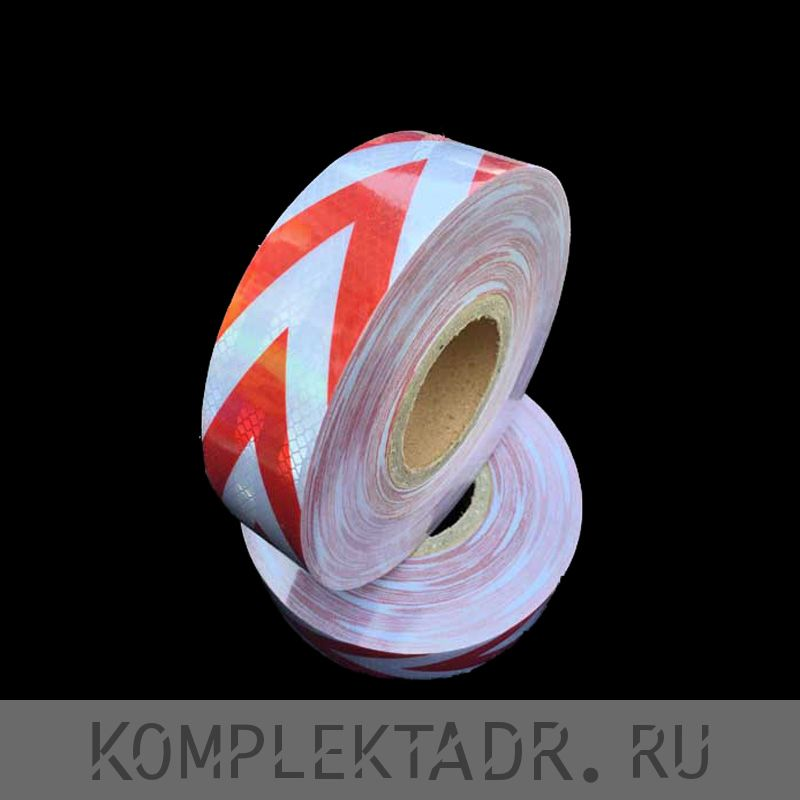 Светоотражающая лента 0,05х25 м красно-белая тонкая стрелка (Арт.: 251321)