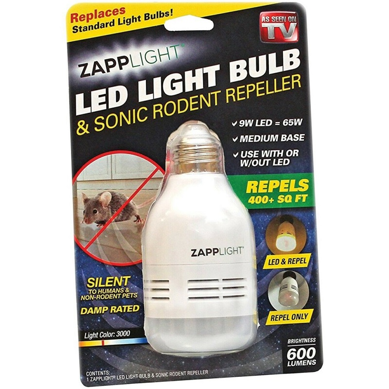 Лампочка - Отпугиватель Грызунов Zapplight LED Light Bulb & Sonic Rodent Repeller