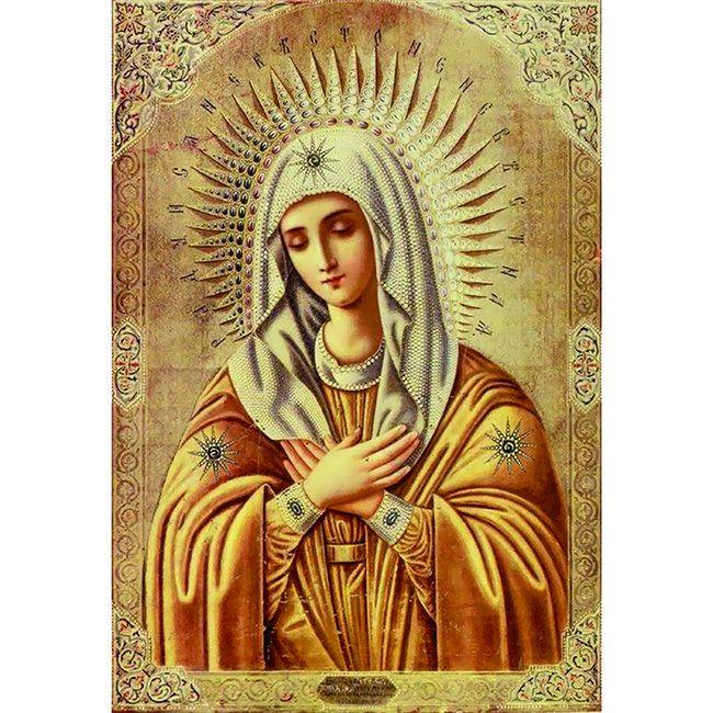 Алмазная живопись с багетом икона Божией Матери Умиление DA-K1573