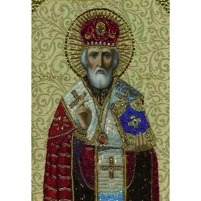 Алмазная живопись с багетом Икона Николая Чудотворца 40*30см DA-K1611