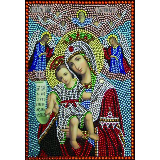 Алмазная живопись с багетом Икона Божией Матери Достойно есть (Милующая) 40*30см DA-K1621