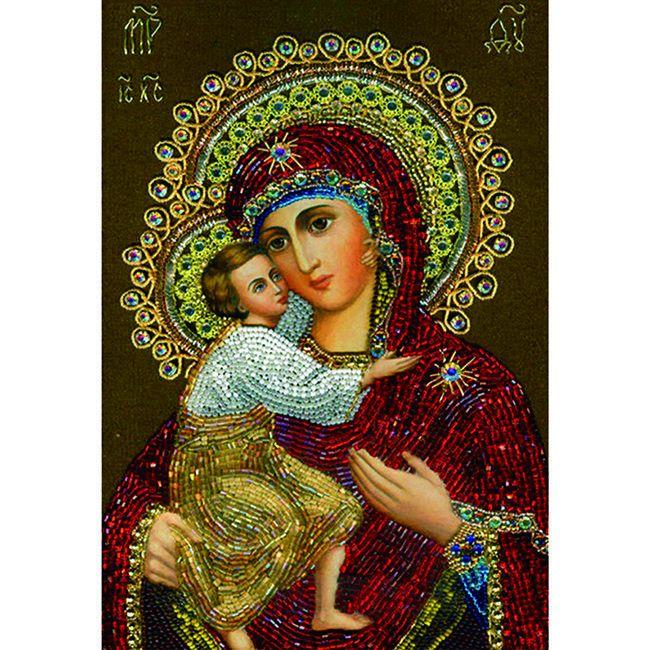 Алмазная живопись с багетом икона Божья Матерь Владимирская 40*30см DA-K1625