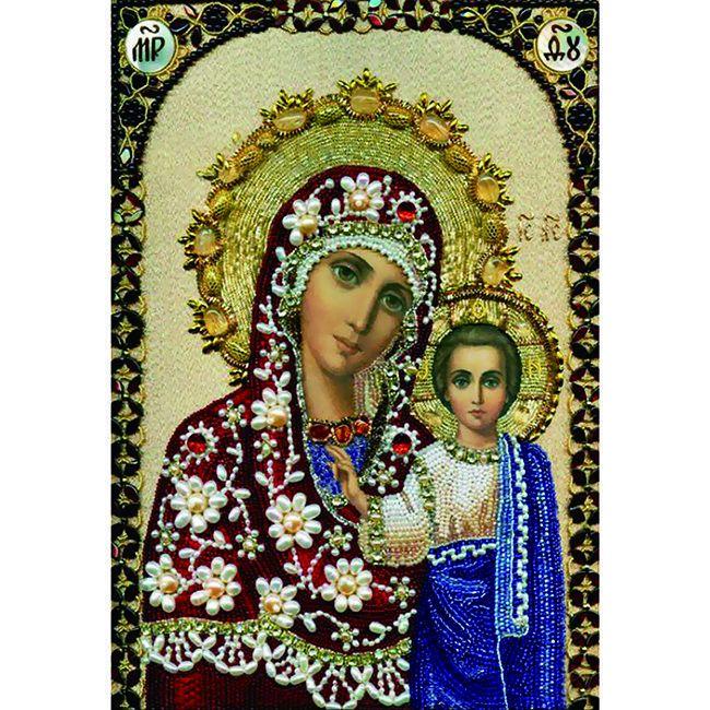 Алмазная живопись с багетом икона Богоматерь Казанская 40*30см DA-K1637
