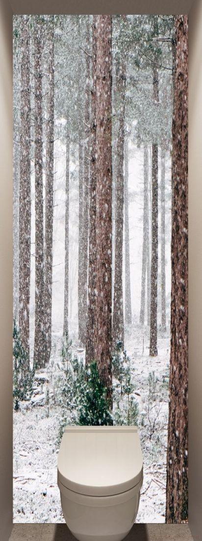 Фотообои в туалет - Соснам не укрыться от снега