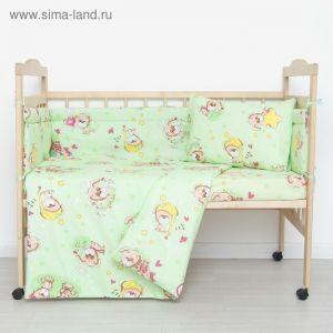 """Комплект в кроватку """"Малышок"""" (6 предметов), цвет зеленый   4301160"""