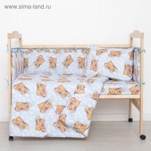 """Комплект в кроватку """"Спящие мишки"""" (6 предметов), цвет голубой 615/1 2070493"""